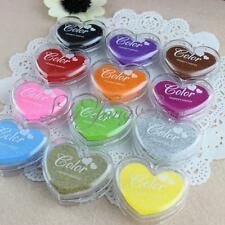 Heart Ink Pad Oil Based Rubber Stamp For Paper Fabric Inkpad Carft DIY 12 Colour