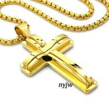 "NEW STAINLESS STEEL 2PAC GOLD TONE CROSS NECKLACE PENDANT W/ 24"" CHAIN STC045G"