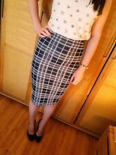 ♥New TOPSHOP Tartan Check Smart Stretch Pencil Skirt Size 6 8 10 12 14 RRP £30♥