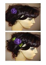 Rose Hair Clip Fascinator Ribbon Rose Brooch Pin/Hair Clip Purple Rose Satin