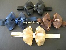 Baby Girls Neutral Sheer Organza Glitz Hair Bow Headband Clip U PICK Color