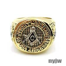 NEW HOT MENS YELLOW GOLD PT. FREEMASON MASONIC PYRAMID EYE OF HORUS RING KR001G