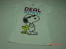 NWT Juniors Womens Peanuts Tee Shirt Snoopy Woodstock Deal With It Graphics