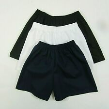 BOYS GIRLS MENS WOMENS COTTON PE SPORTS SHORTS ELASTACATED NAVY BLACK WHITE BLUE
