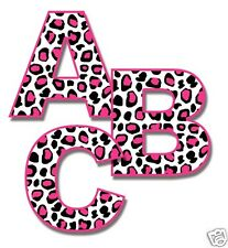 Hot Pink Leopard Alphabet Letter Wall Decals Personalize Girl Room Sticker Decor