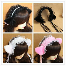 Halloween Japanese Cosplay Lolita Maid Party HairBand Headband Lace Bow Cat Ears