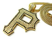 """ICED OUT WIZ KHALIFA PITTSBURGH P PENDANT & 36"""" FRANCO CHAIN NECKLACE JP215BGS"""