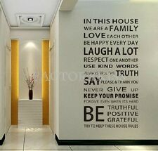 Modern Home Rules Removable Black Wall Art Sticker Decal Home Decor FKG