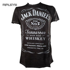 Official T Shirt JACK DANIELS Big Classic Logo ACID WASH Black All Sizes