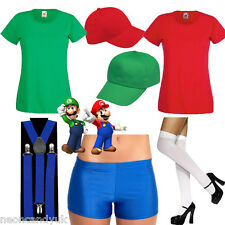 Sexy Ladies Super Mario Luigi Brothers Fancy Dress Costume Hen Night Party Women