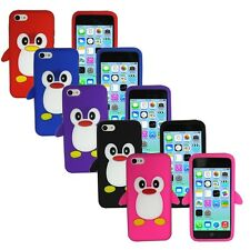 3D Cute Penguin Soft Rubber Silicone Case Cover Skin for Apple iPhone 5C