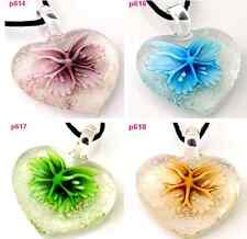 beauty HEART FLOWER lampwork Murano art glass beaded pendant necklace p614 one