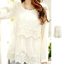 JBJ Peasant Women Lady Boho Cream Embroidered Lace Chiffon Long Sleeve Shirt Top