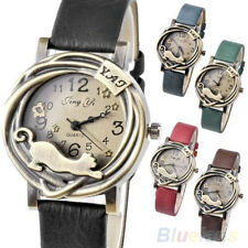 Women'S Vintage Leather Bracelet Bronze Cat Quartz Old School Wrist Watch B1CU