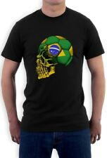 Brazil Flag World Cup Skull T-Shirt soccer football brasil fan national team
