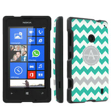 Black Designer Case for Nokia Lumia 520 - Mint Chevron Custom Monogram Initial