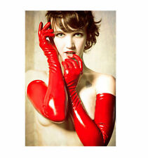 Red Gloves Womens Adult Wet Look Latex Fetish Costume Accessory Long Gloves