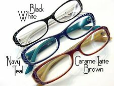 Deco 2Tone Rectangular Acetate Reading Glasses Black Blue Teal Caramel Brown