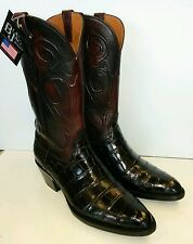 NEW MENS BLACK JACK BLACK CHERRY AMERICAN ALLIGATOR COWBOY BOOT SZ 9.5 D