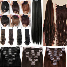 Real Quality New 8pcs Full Head Clip in Hair Extensions for Lady Human Made Hair