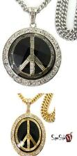 Bling Cuban Hippie Peace Sign Dome Acrylic Pendant Iced Out New Design Chain Set