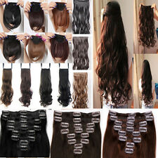 UK Real Thick 8pcs Full head hair extensions 5 Clips Ponytail Straight Wave mm