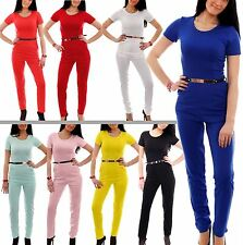 Womens Ladies Short Sleeve Gold Belted Back Zip Pocket Long Jumpsuit All In One