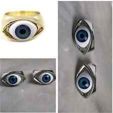 1Pcs Retro Punk Fashion Evil Eye Eyeball Finger Charm Ring Blue Silver/Bronze