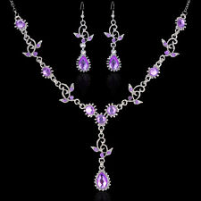 Wedding Bridal Jewelry Crystal Rhinestone Necklace Earring Set+Free Ring Gift JZ