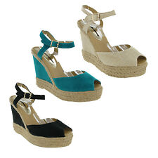 New Womens Dorothy Perkins Canvas High Wedge Sandals Espadrilles UK Size 3-8