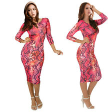 Women Sexy Club Wear Snake Color Print Bodycon Long Sleeve Dress Evening Party