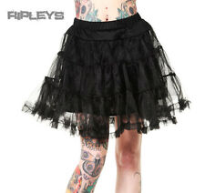 "BANNED 50s Dress Rockabilly BLACK PETTICOAT Skirt Goth Vintage 20"""" All Sizes"