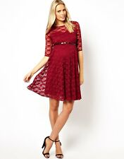 ♥New ASOS Maternity Claret Lace Skater Belted Dress Size 6 8 10 12 14 16 RRP£28♥