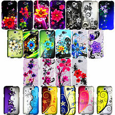 For Samsung Galaxy Note 2 II Flower Floral Design Hard Case Snap On Rubberized