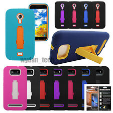 For BLU Hybrid Impact Stand Hard Silicone Case Cover w/ Screen Protector