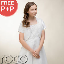 Girls White Traditional Embroidered First Holy Communion Dress with Bolero