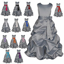 New Grey Satin Flower Girl Party Bridesmaid Dresses 1-13 Year Sash in 13 Colour