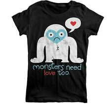 Goodie Two Sleeves Monsters Need Love Too Cute Black Fitted Short Sleeved Tshirt