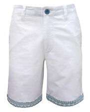 Soul Star Oxford Men's Turn Up Aztec Trim Casual Cotton Shorts white 2181