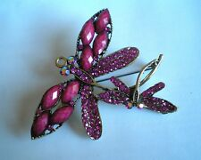 Vintage Style Mother Baby Huge Dragonfly Brooch Multicolor Crystal & Rhinestone