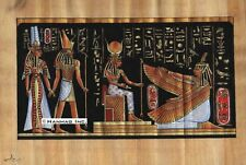 "Egyptian Papyrus Painting - Isis and Winged Maat 8X12"" + Hand Painted #58"