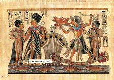 """Egyptian Papyrus Painting - Tut and Wife Hunting 8X12"""" + Hand Painted #31"""