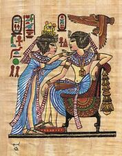 """Egyptian Papyrus Painting - Tut and Wife 7X9"""" + Hand Painted + Description #43"""