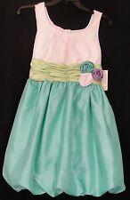 Bonnie Jean 82013 Aqua,Green,White Bubble Skirt Dress Girl's  Plus 12.5-20.5 NWT