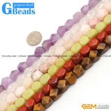 "8-9x11-12mm Faced Cuboid Mixed Stone Beads 15"" DIY Jewelry Making 19 Materials"