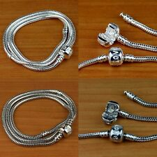 Wholesale Silver & 18KG Snake Emboss Charm Necklace For European Beads Findings