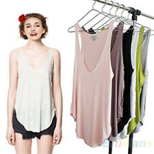 Ladies Summer Trendy Loose Sleeveless V-Neck Soft Vest Tank Tops Tee Shirt B1CU