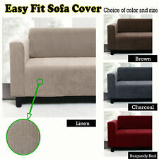 Linen Charcoal Brown - Stretchable Easy Fit Couch Cover - 1-2 Seater, 2-3 Seater