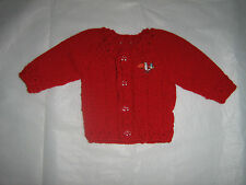 UNISEX  3/6 MONTH OLD RED BABY CRADIGAN.DRESSY.EVERYDAY. HAND-KNITTED IN USA.