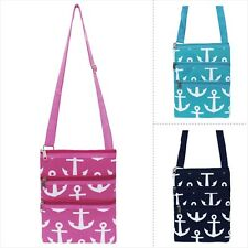 White Anchors Print Girly Cheer Dance Cross Body Messenger Hipster Bag